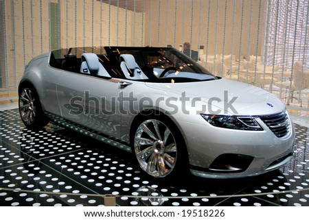 PARIS, FRANCE - OCTOBER 4: Paris Motor Show on October 4, 2008, showing Saab 9-X Air Concept - stock photo
