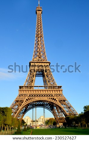 PARIS, FRANCE OCTOBER 14: the Eiffel Tower (Tour Eiffel) on october 14, 2013 in Paris, France. It was built between 1887 and 1889 for the World's Fair (Expo 1889). - stock photo