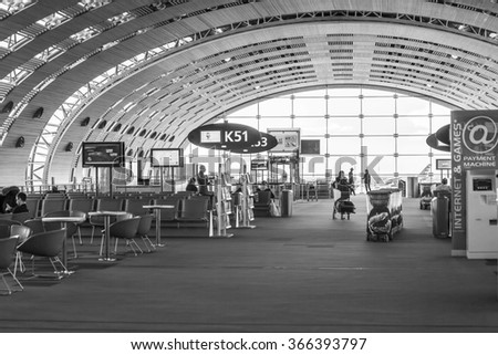 PARIS, FRANCE - on JANUARY 14, 2016. The international airport Charles de Gaulle, the hall of a departure in the terminal E.  - stock photo