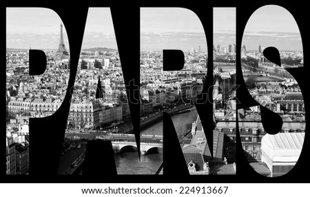 paris, france - panorama from Notre-Dame - stock photo