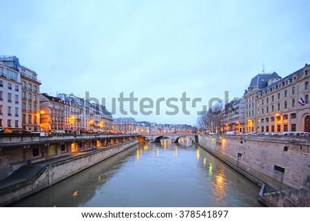 Paris, France, river Sena at night in Paris, France,  - stock photo