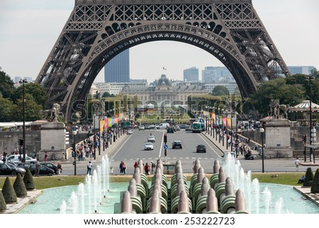 Paris, France - September 9, 2014:  Eiffel Tower seen from fountain at Jardins du Trocadero. Paris. France - stock photo