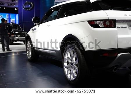 PARIS, FRANCE - SEPTEMBER 30: Paris Motor Show on September 30, 2010 in Paris, showing Range Rover Evoque, rear detail view - stock photo