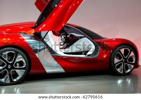 PARIS, FRANCE - SEPTEMBER 30: Paris Motor Show on September 30, 2010 in Paris, showing Renault Dezir, side view - stock photo