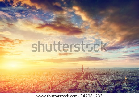 Paris, France skyline, panorama at sunset. View on Eiffel Tower, Champ de Mars - stock photo