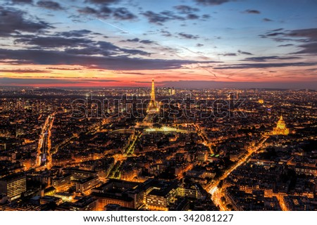 Paris, France skyline, panorama at sunset, young night. View on Eiffel Tower, Champ de Mars - stock photo