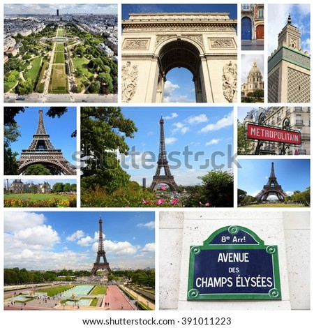 Paris, France - travel photo collage with Trocadero, Luxembourg Palace and Eiffel Tower. - stock photo