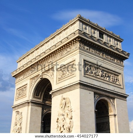 Paris, France - Triumphal Arch located at the end of Champs-Elysees street. UNESCO World Heritage Site. - stock photo
