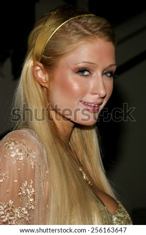 Paris Hilton attends the Rodeo Drive Walk Of Style Award honoring Gianni and Donatella Versace held at the Beverly Hills City Hall in Beverly Hills, California on February 8, 2007. - stock photo