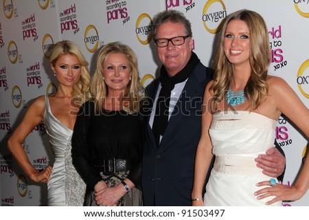 "Paris Hilton, Kathy Hilton, Rick Hilton, Nicky Hilton at ""The World According to Paris"" Premiere Party, Roosevelt Hotel, Hollywood, CA 05-17-11 - stock photo"