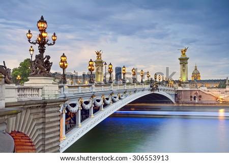 Paris. Image of the Alexandre III Bridge located in Paris, France. - stock photo