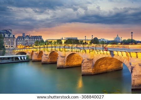 Paris. Image of the Pont Neuf, the oldest standing bridge across the river Seine in Paris, France. - stock photo