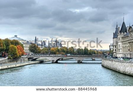paris in autumn - stock photo
