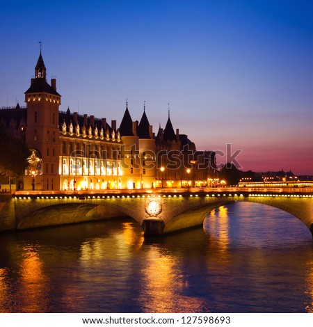 Paris in the night, France - stock photo