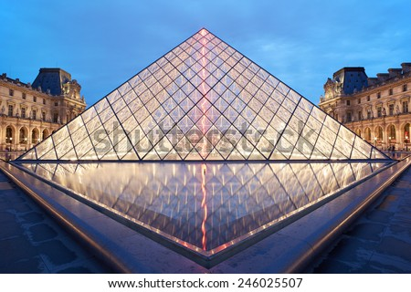 PARIS - JULY 7: Louvre pyramid and museum night view on July 7th, 2014 in Paris, France. Louvre museum hosts one of the biggest art collection in the world. - stock photo