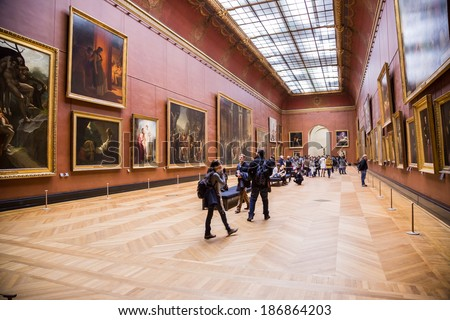 PARIS - JULY 22: Rubens paintings on July 22, 2012 in Louvre Museum, Paris, France. With 8,5m annual visitors, Louvre is consistently the most visited museum worldwide. - stock photo