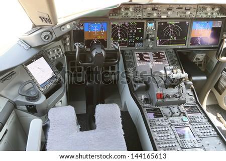 PARIS - JUN 17: Cockpit of Boeing 787 Dreamliner shown at 50th Paris Air Show on June 17, 2013, Paris, France. - stock photo