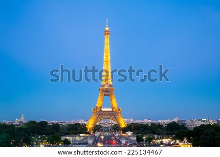 Paris - Jun 20: Eiffel Tower Light and Beam Performance Show at Dusk on Jun 20, 2014. Eiffel Tower is the highest monument in France use 20,000 light bulbs in the show. - stock photo
