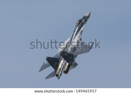 PARIS - JUN 17: United Aircraft's Sukhoi Su-35 fighter jet shown at 50th Paris Air Show on June 17, 2013, Paris, France. - stock photo