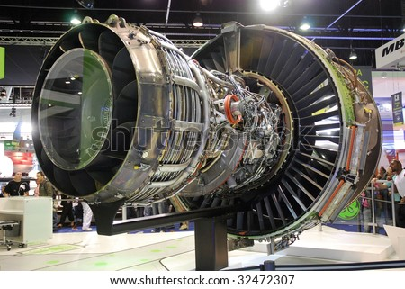 PARIS - JUNE 21: GEnx jet engine (turbofan) rear view at Le Bourget Air Show on June 21, 2009 in Paris, France. GEnx engine is chosen by Boeing for its 787 and 747-8 aircrafts. - stock photo
