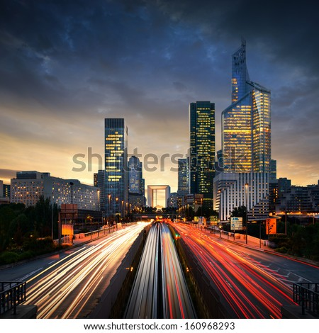 Paris LaDefense at sunset - La Defense - stock photo