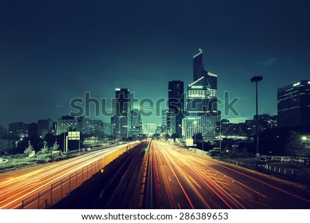 Paris LaDefense in sunset time, France - stock photo