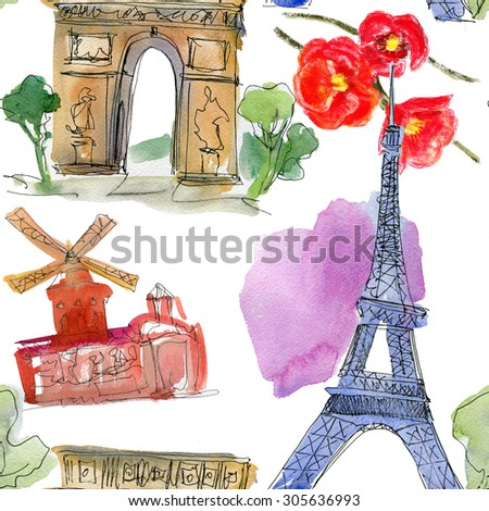 Paris landmark, watercolor  seamless pattern. Watercolor stein.Vintage doodle.In French good travel,hello, Eiffel tower, arc de Triomphe, Moulin Rouge and flowers - stock photo
