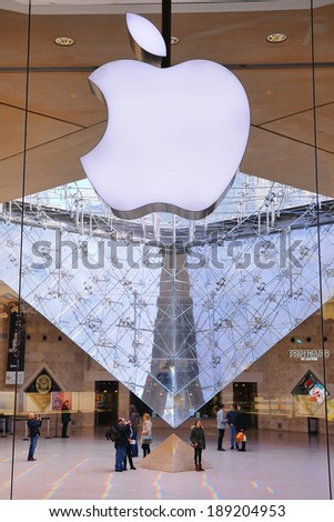 PARIS - MAR 3: An Apple store at the Louvre Museum on March 3, 2014 in Paris, France. - stock photo