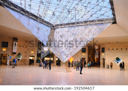 PARIS - MAR 1: People inside the Louvre Museum (Musee du Louvre) on March 1, 2014 in Paris, France. - stock photo