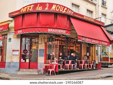 "PARIS - MAR 1: The Cafe des 2 Moulins (French for ""Two Windmills"") is a cafe in the Montmartre area, which has gained fame since its appearance in the film Amelie, on March 1, 2014 in Paris, France. - stock photo"