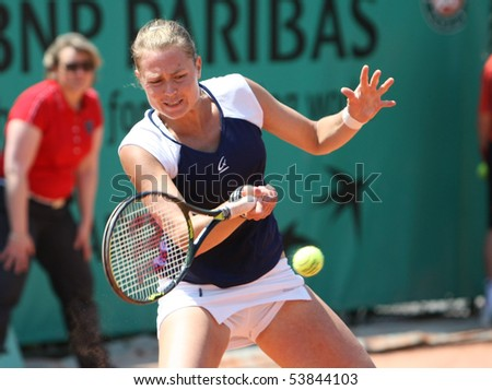 PARIS - MAY 20: Elena BOVINA of Russia plays the 2nd round qualification match at French Open, Roland Garros on May 20, 2010 in Paris, France. - stock photo