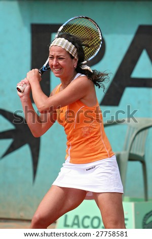 PARIS - MAY 21: Georgia's professional tennis player MARGALITA CHAKHNASHVILI during her match at French Open, Roland Garros on May 21, 2008 in Paris, France. - stock photo