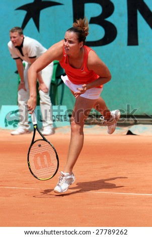 PARIS - MAY 23: Slovakia's professional tennis player Jarmila Gajdosova (Groth) during her match at French Open, Roland Garros on May 23, 2008 in Paris, France. - stock photo