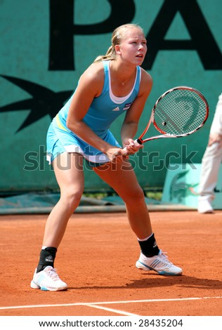 PARIS - MAY 21: Sweden's Johanna Larsson during the match at Roland Garros, French Open tennis tournament, May 21, 2008 in Paris, France - stock photo
