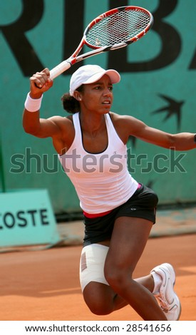 PARIS - MAY 21: US professional tennis player RAQUEL KOPS-JONES during her match at French Open, Roland Garros on May 21, 2008 in Paris, France. - stock photo