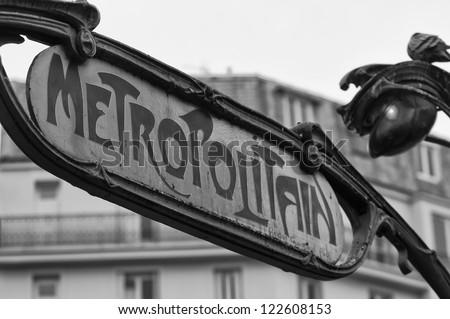 Paris Metro Metropolitain Sign in black and white - stock photo