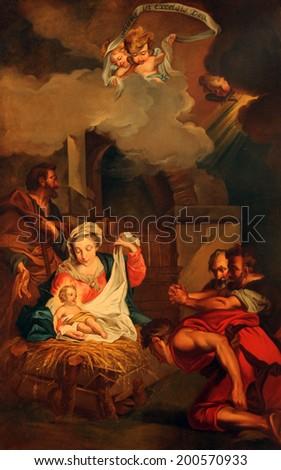 PARIS,NOV 06:Nativity scene,Saint-Etienne-du-Mont church,located on the Montagne Sainte-Genevieve,near the Pantheon, contains the shrine of St. Genevieve the patron saint of Paris. On Nov 06 in Paris - stock photo