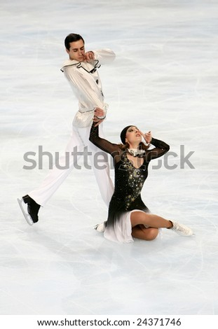 PARIS - NOVEMBER 15: Italy's ice dancers Federica FAIELLA / Massimo SCALI  perform free program at ISU Grand Prix - Eric Bompard Trophy in Bercy, Paris, France on November 15, 2008. - stock photo