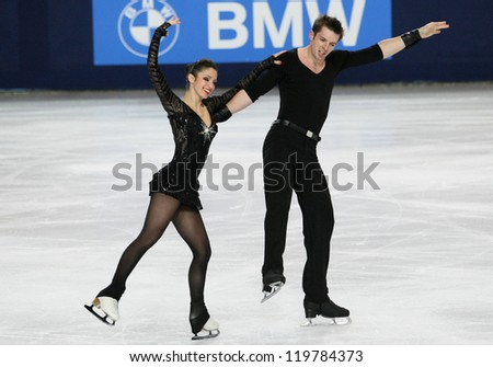PARIS - NOVEMBER 16: Stefania BERTON / Ondrej HOTAREKof Italy perform during pairs short skating event at Eric Bompard Trophy on November 16, 2012 at Palais-Omnisports de Bercy, Paris, France. - stock photo