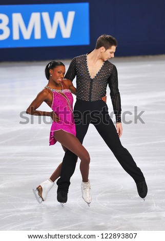 PARIS - NOVEMBER 16: Vanessa JAMES / Morgan CIPRES of France perform at pairs short program event at Eric Bompard Trophy on November 16, 2012 at Palais-Omnisports de Bercy, Paris, France. - stock photo