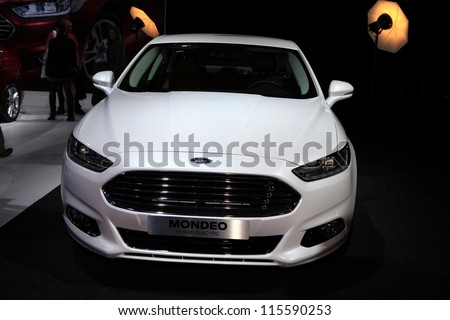 PARIS - OCTOBER 14: The Ford Mondeo Hybrid Electric displayed at the 2012 Paris Motor Show on October 14, 2012 in Paris - stock photo