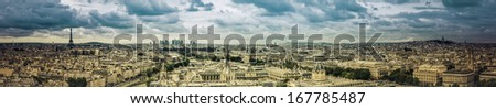 Paris panorama with scenic sky - stock photo