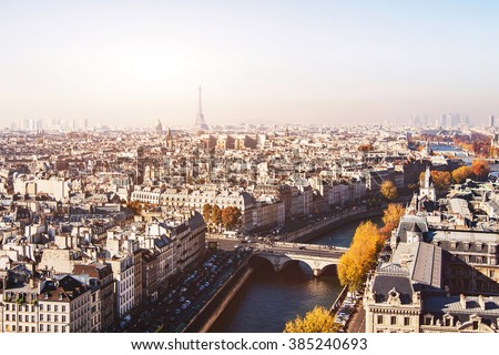 Paris panoramic view, beautiful aerial cityscape with Eiffel Tower on background - stock photo