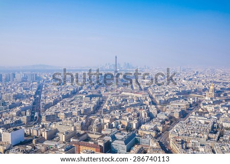 Paris, panoramic view from Montparnasse - stock photo