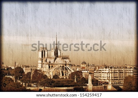 Paris Postcard with Notre Dame and Paris skyline. - stock photo