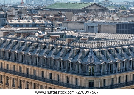 paris roofs and cityview landscape - stock photo