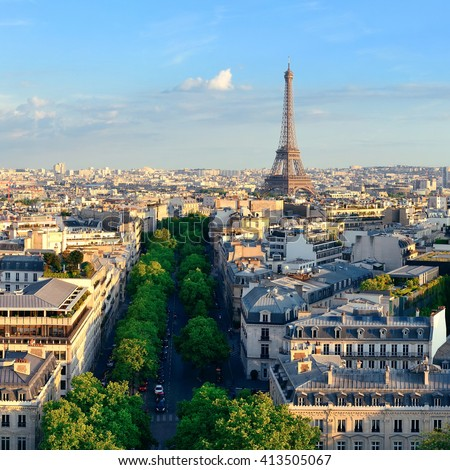 Paris rooftop view skyline and Eiffel Tower in France. - stock photo