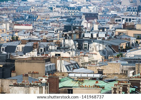 Paris rooftops aerial view, France - stock photo