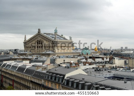 Paris rooftops and skyline on a cloudy afternoon in France. Paris is one of the top tourist destinations in Europe. - stock photo