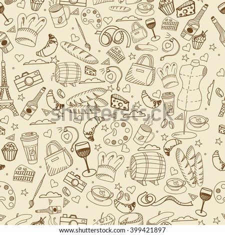 Paris seamless line art design raster illustration. Separate objects. Hand drawn doodle design elements. - stock photo